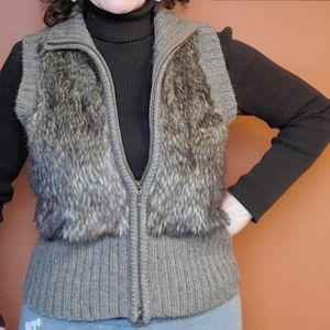 CAbi Brown Faux Fur/ Wool Sweater Vest SZ S